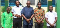 In the middle is Prof. Edem Kwasi Bakah, President, EPUC together with the 4 students